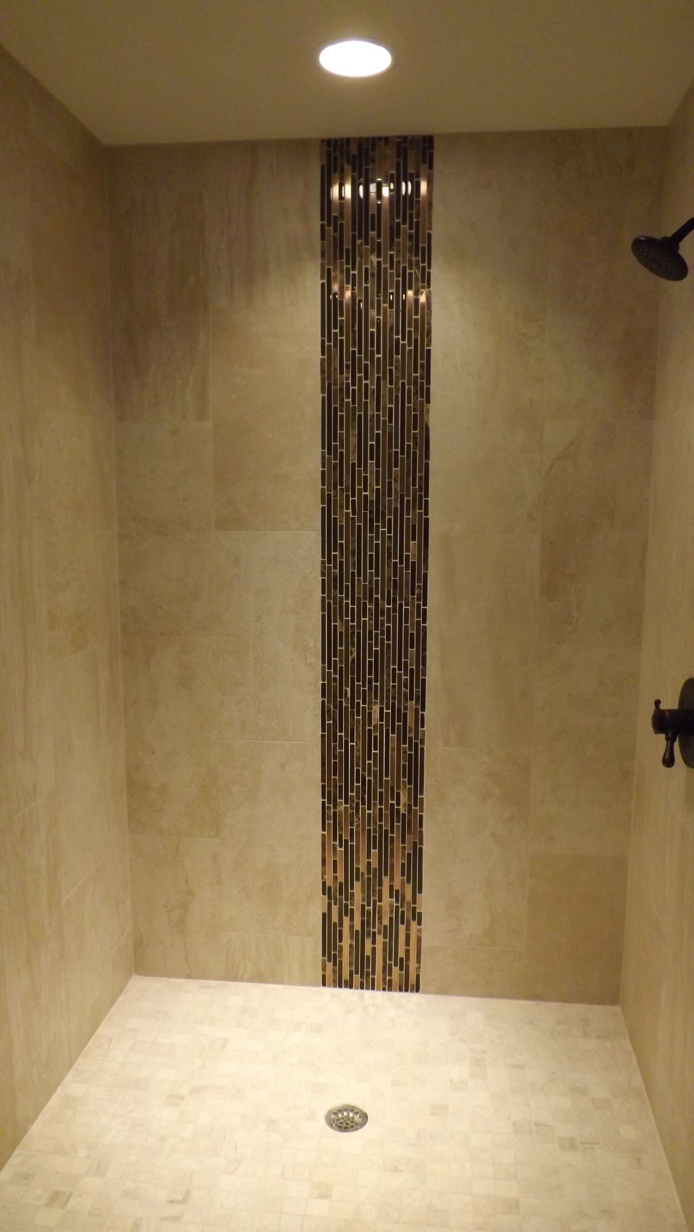 Shower Stall With Vertical Accent Iris Porcelain Field Tile Copper And Glass Deco Bathroom