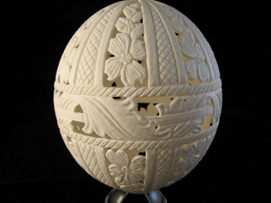 Ostrich egg carved with dogwood flower design enchanted