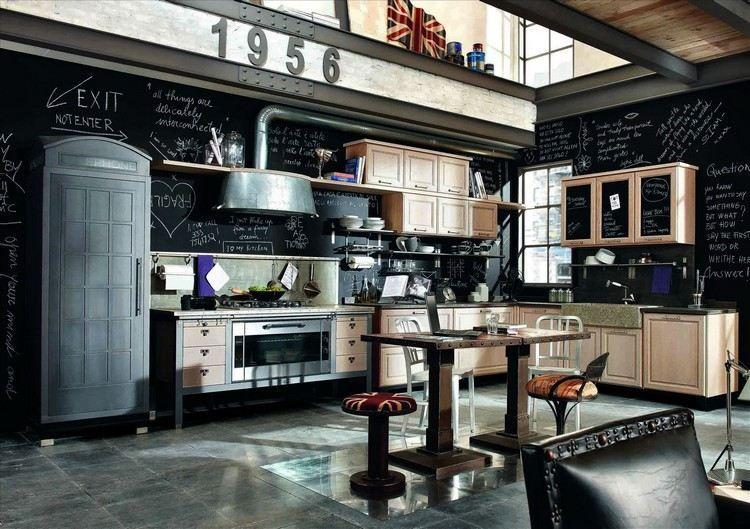 déco industrielle, cuisine design avec peinture ardoise, carrelage - peindre le carrelage sol