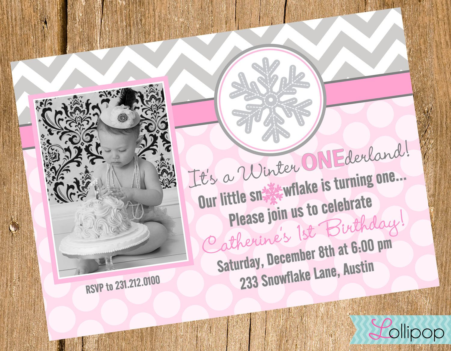 Winter ONEderland Christmas Printable Snowflake Pink Gray