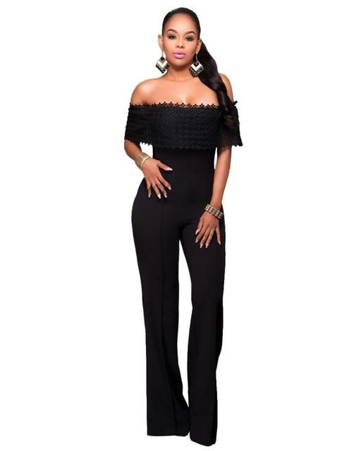 bf247f565b94 Adogirl Women Ruffles Lace Off Shoulder Party Jumpsuit Sexy Wide Legs Pants  Long Playsuit Rompers