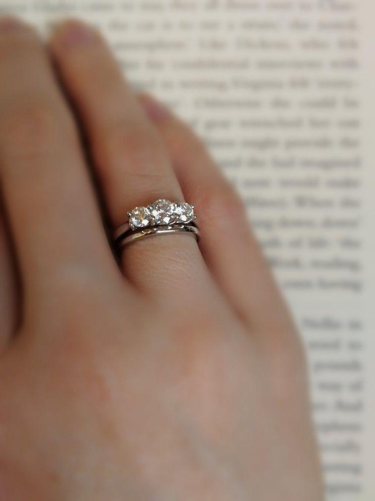 Diamond Platinum Trilogy Three Stone With Art Deco 1920s Wedding