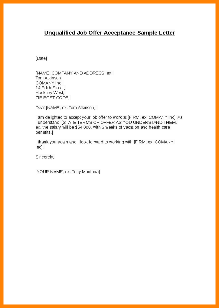 Offer Letter Acceptance Email Nanny Resumed Unqualified Job Sample