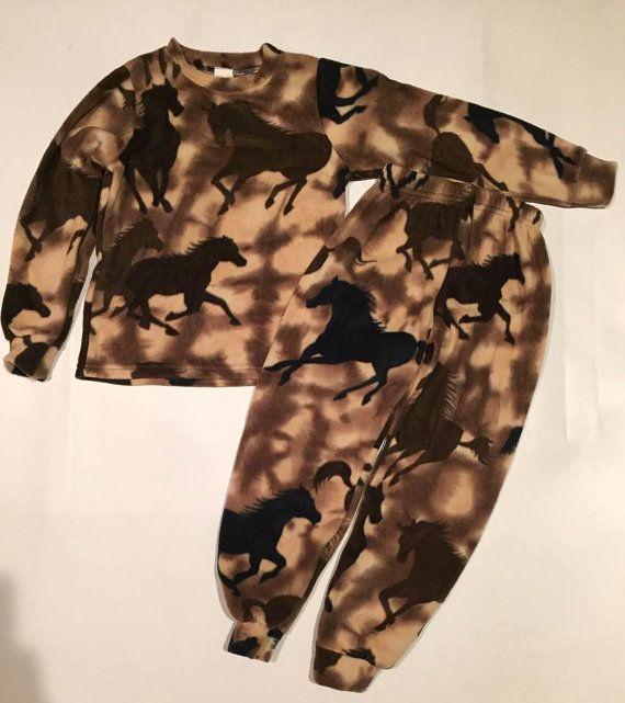 cf01182b332f Kids Plush Comfortable Beige Horse Fleece PJ s Winter Warm Pajamas ...