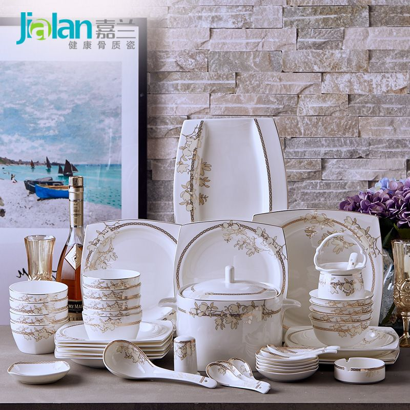 Garland 56 bone china tableware suit European style luxury health dishes dish of Tangshan ceramic dishes & Garland 56 bone china tableware suit European style luxury health ...