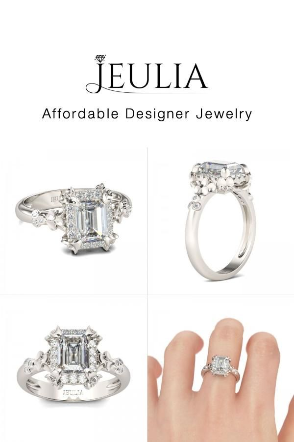 a89cc5bc0103a1 Flower Design Halo Emerald Cut Created White Sapphire Rhodium Plating Sterling  Silver Women's Ring - Jeulia Jewelry