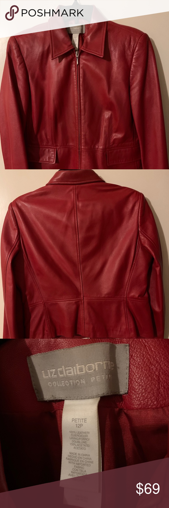 Genuine Red Leather Jacket Genuine Red Leather Jacket Is A Liz Claiborne Size 12p The Leather Feels Supple An Red Leather Jacket Clothes Design Leather Jacket