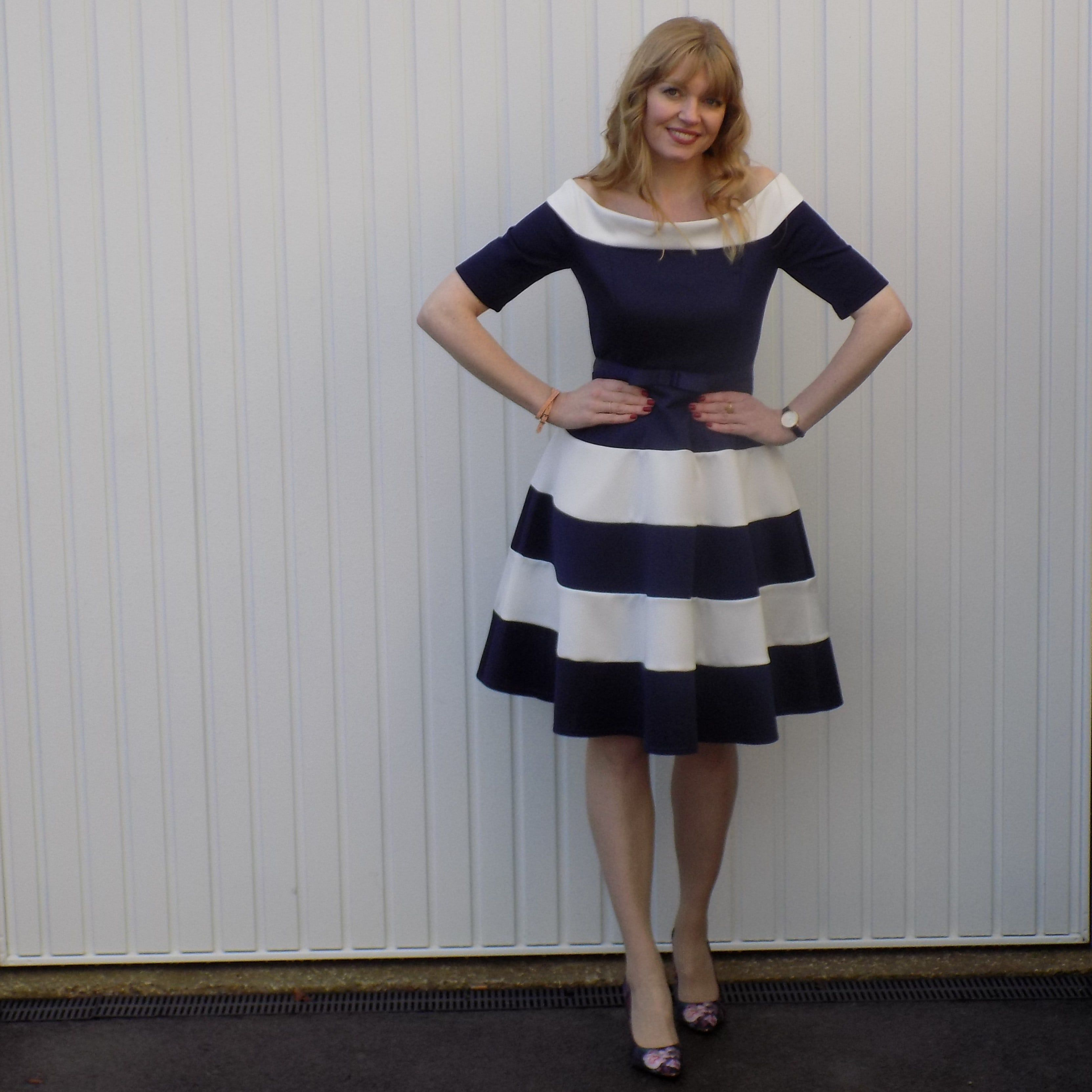 Navy and white striped fit and flare dress with Bardot neckline ...