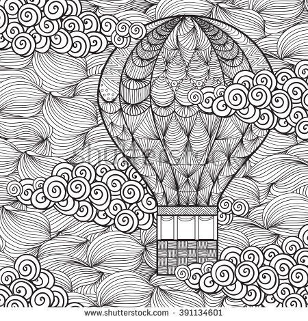 Hand Drawn Adult Coloring Page Air Balloon In Clouds In