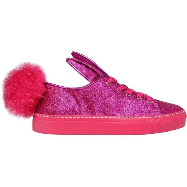 Minna Parikka Women 20mm Glitter Fabric Bunny Tail Sneakers ($445) ❤ liked  on Polyvore · Leather TrainersLeather SneakersShoes ...