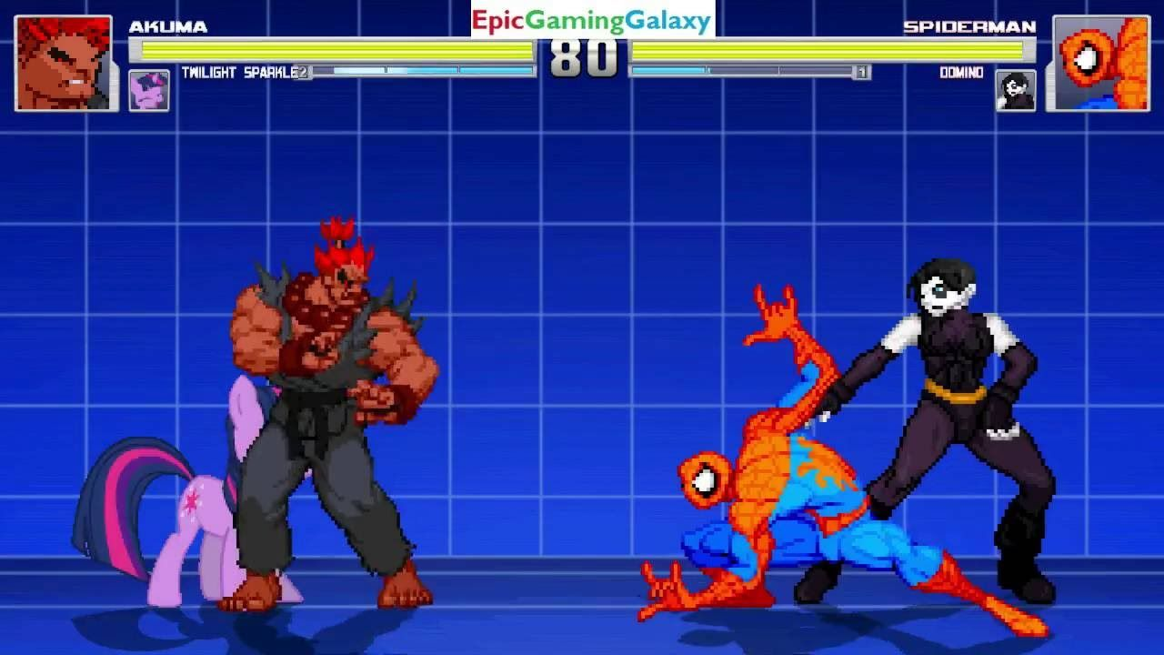 Twilight Sparkle And Akuma VS Domino And Spider-Man In A MUGEN Match / Battle / Fight This video showcases Gameplay of Twilight Sparkle From The My Little Pony Friendship Is Magic Series And Akuma From The Street Fighter Series VS Domino The Superheroine And Spider-Man The Superhero In A MUGEN Match / Battle / Fight