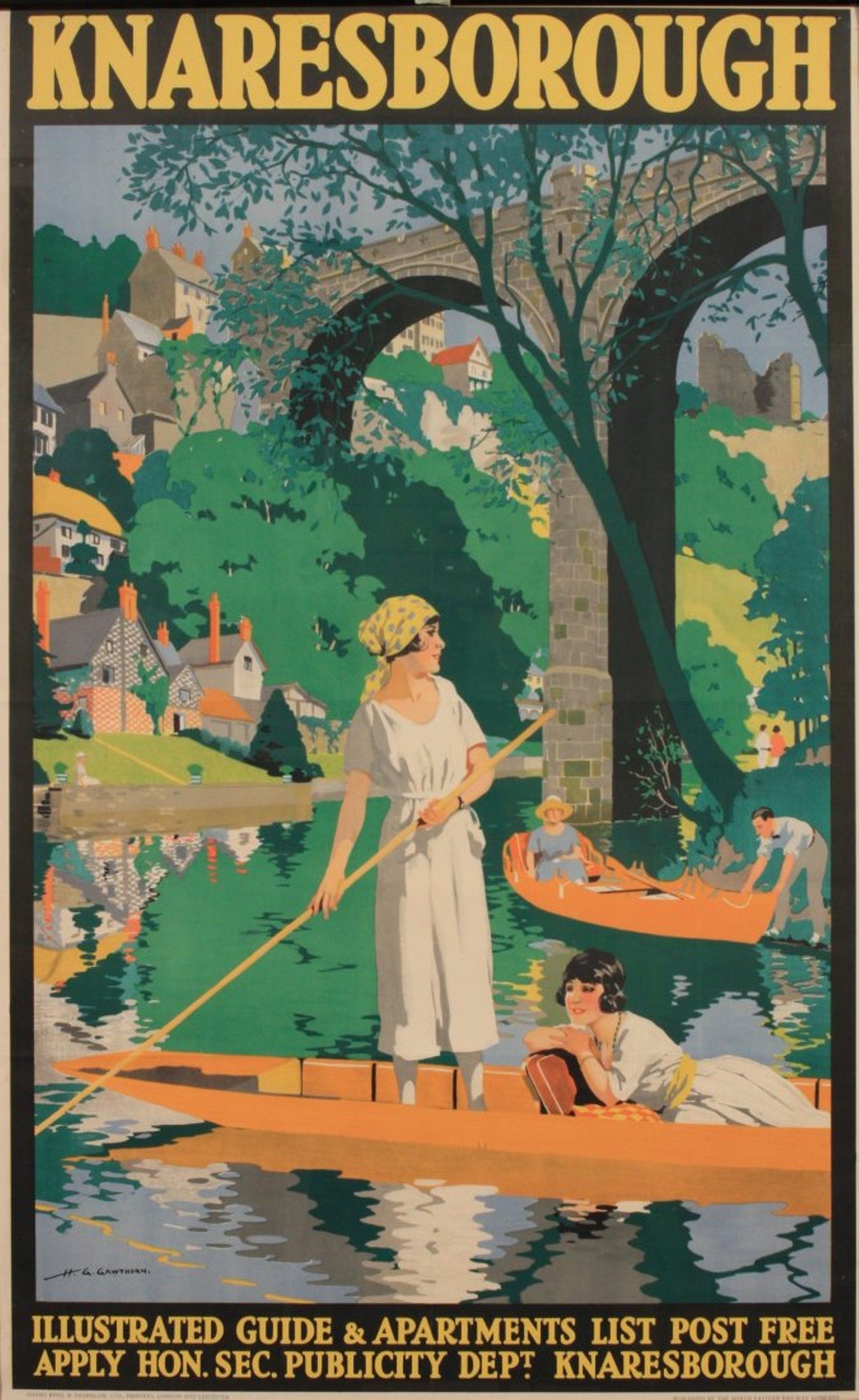 KNARESBOROUGH POSTER YORKSHIRE VINTAGE RETRO RAILWAY TRAVEL ADVERTISING ART