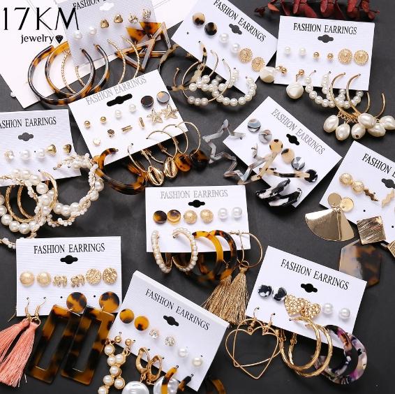 Women Alloy Gifts Geometric Jewelry Tassel Earrings Acrylic Bohemia Ear Stud