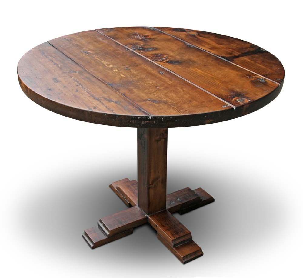 Furniture: Excellent Tables Design Made From Recycled Materials, Simple  Vintage Round Antique Pine Farm Coffee Table