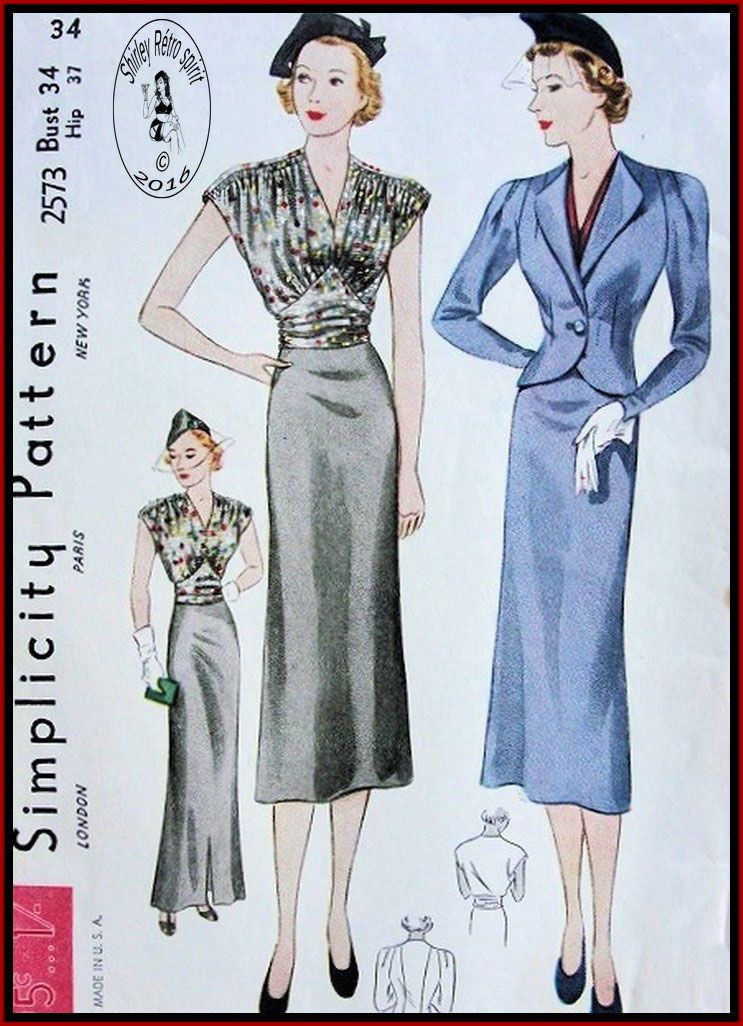 Simplicity 2573 (1937) Vintage Sewing Patterns Simplicity