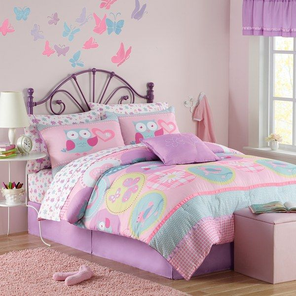 Girls Room Pink Purple And Blue Owls Hannah Bedding