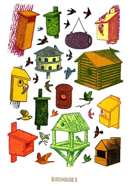 Birdhouses - small print