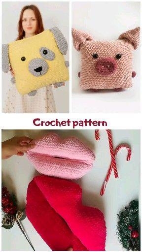 Photo of crochet pattern, amigurumi pattern, crochet dog, crochet pig, crochet pillow, amigurumi pillow