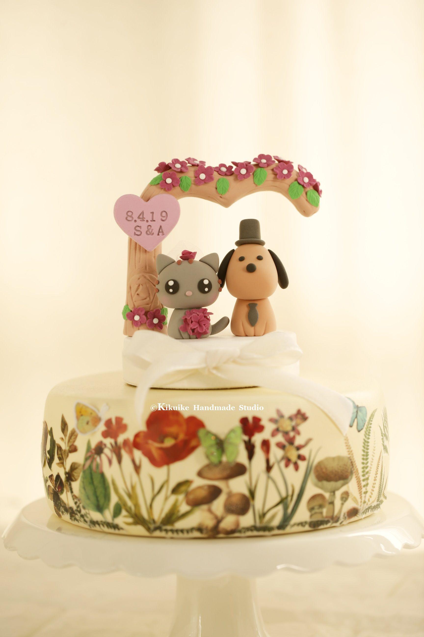 cat and dog Wedding Cake Topper,kitty wedding cake topper