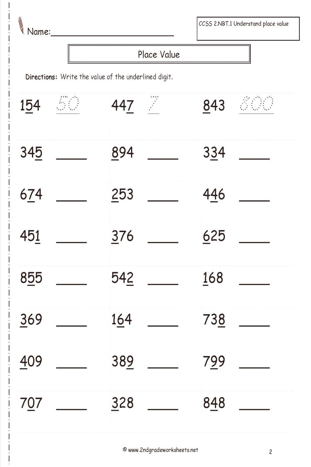 hight resolution of Place Value Worksheets Second Grade Worksheet Common Core Math 5th   Place  value worksheets