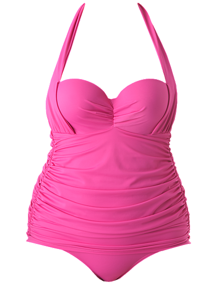 5472f12e7b4 This feminine retro-inspired maillot by Lane Bryant is to die-for. By the  way the bright pink shade is called