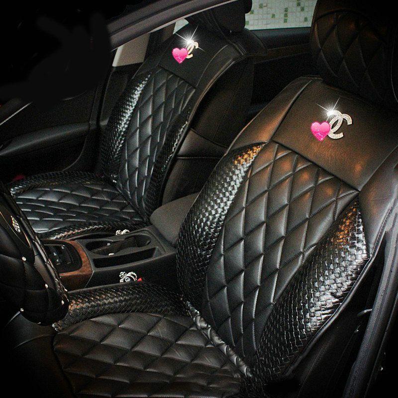 Buy Wholesale Luxury Diamond Chanel Universal Automobile Leather Car Seat Cover Cushion 10pcs Sets Rose F Leather Car Seat Covers Leather Car Seats Car Seats