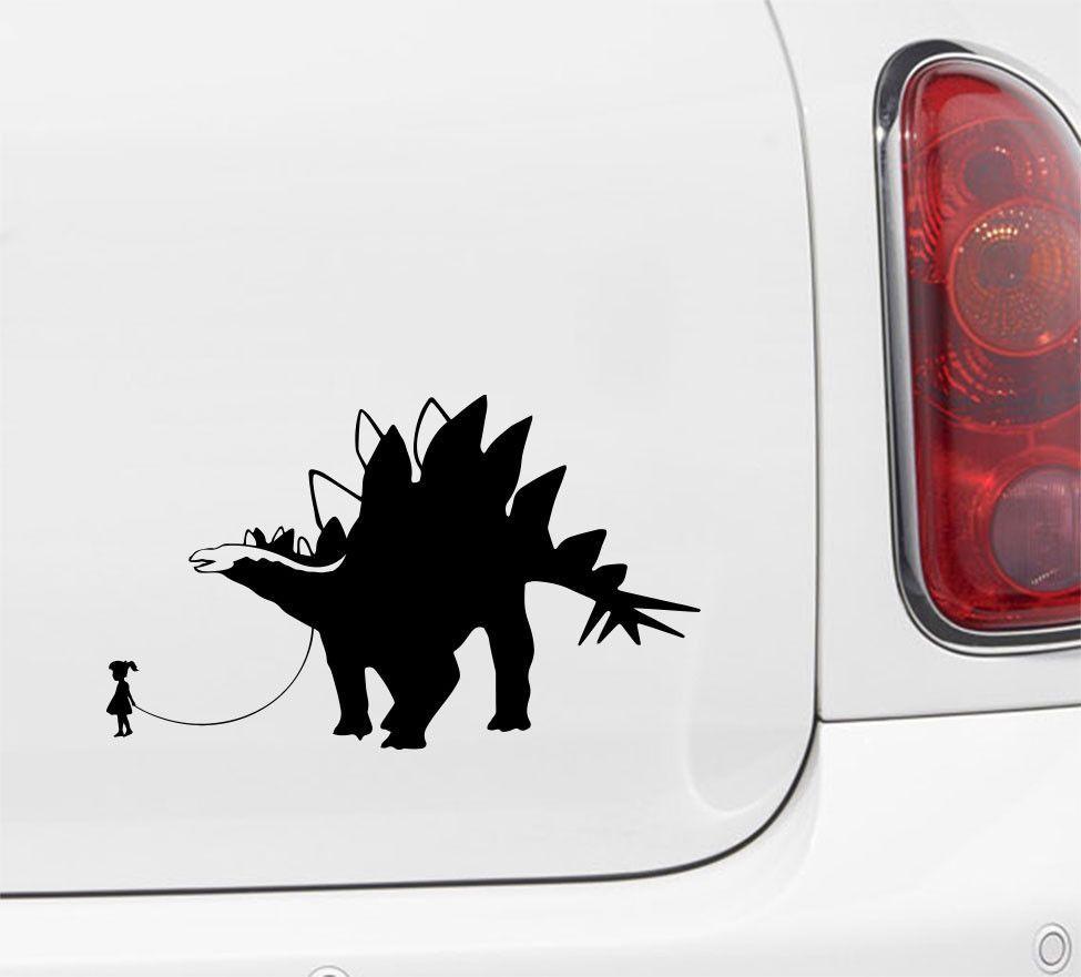 "CAR - Dinosaur Pet - Child with Stegosaurus - Car   Truck   ATV Vinyl Decal - ©YYDC (7.5""w x 4.5""h) (Variations Available)"