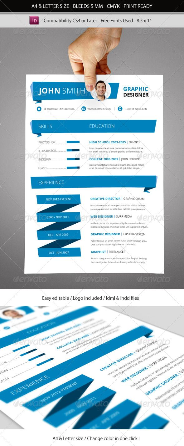 Indesign Resume Template A4 & Letter size | Pinterest | Curriculums ...