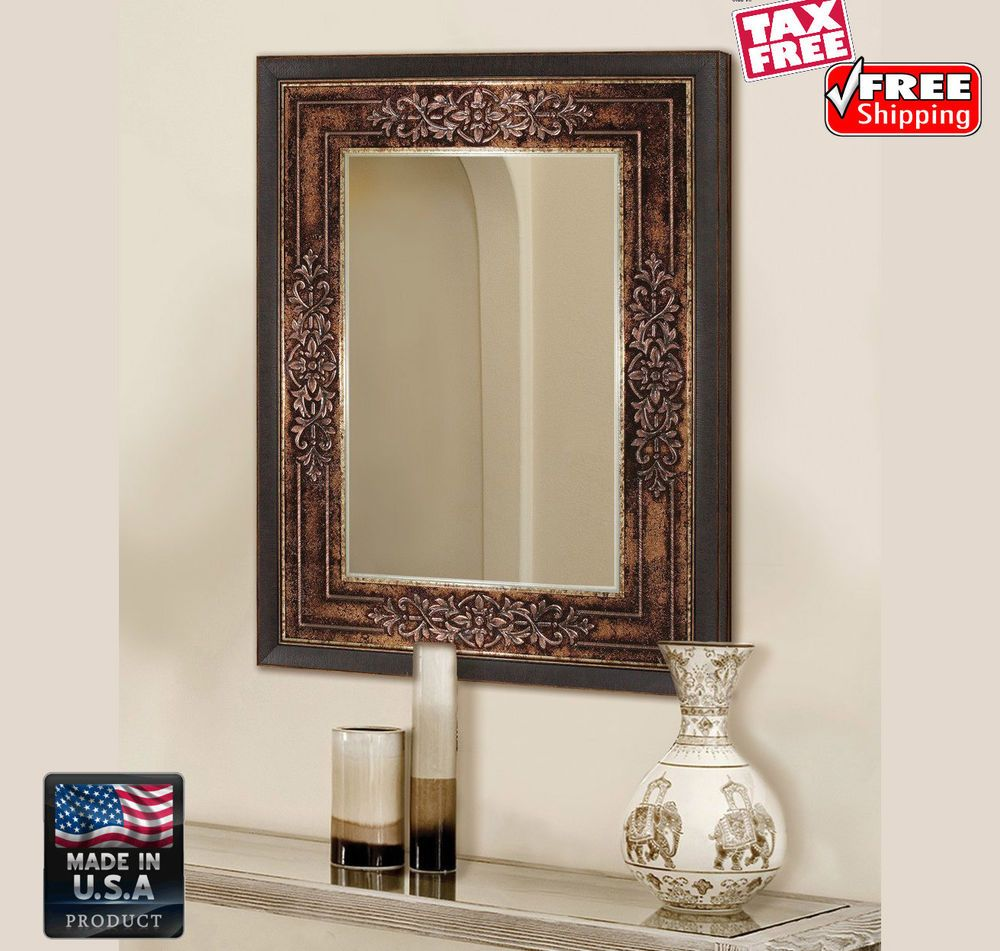 wall art vintage mirror large bronze frame rectangle on ideas for decorating entryway contemporary wall mirrors id=66894