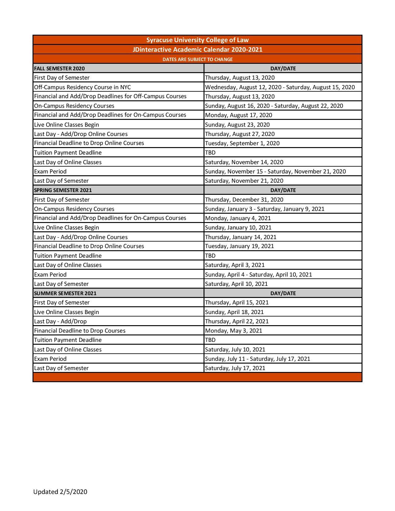 Syracuse University Academic Calendar 2021-2022 Syracuse University Academic Calendar Free https://