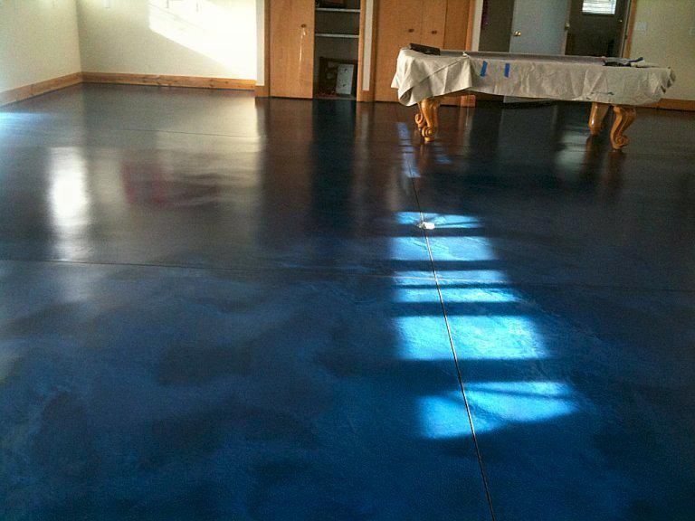 navy blue stained concrete floor  Industrial Glam Kitchen