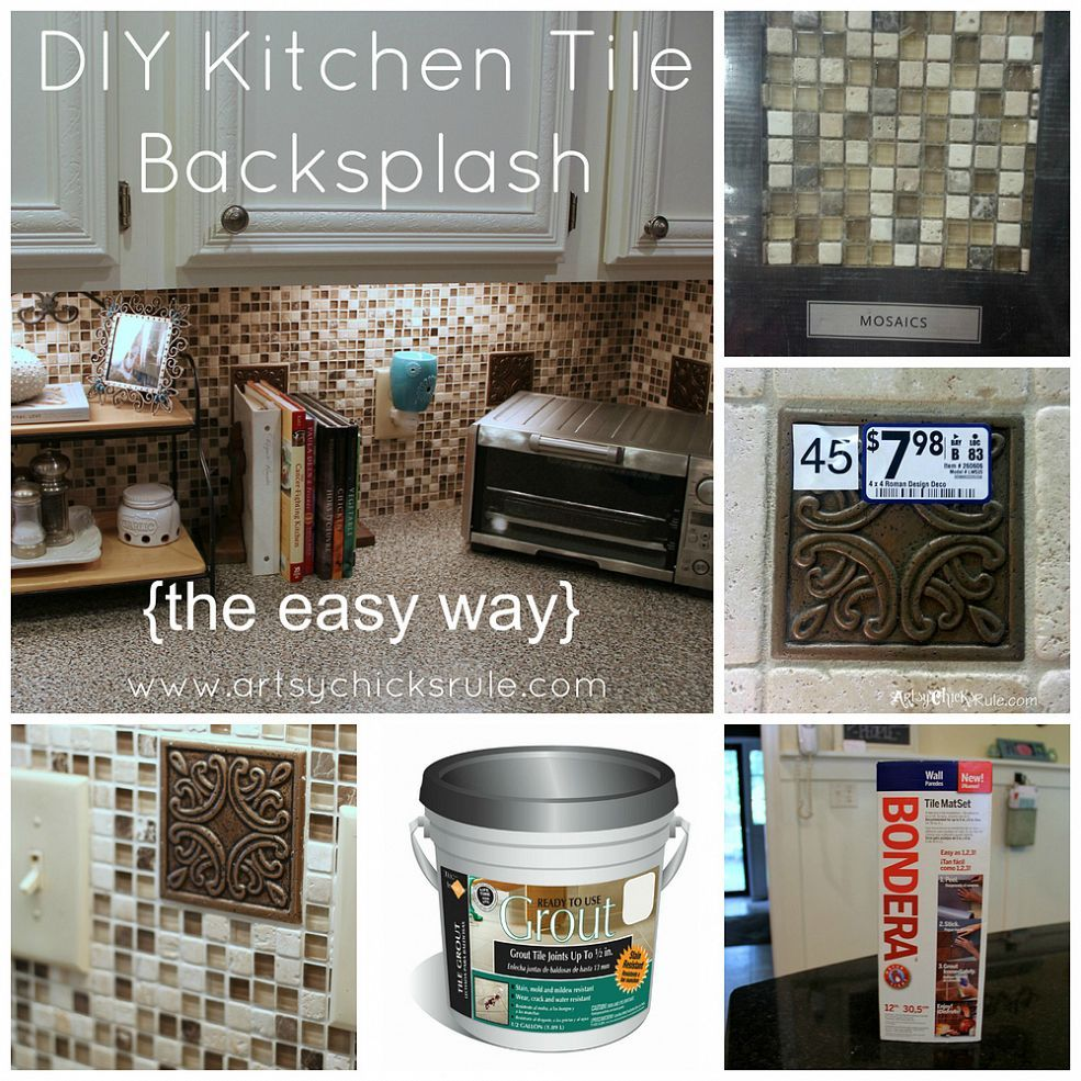 Diy Kitchen Back Splash The Easy Way Kitchen Tile Diy
