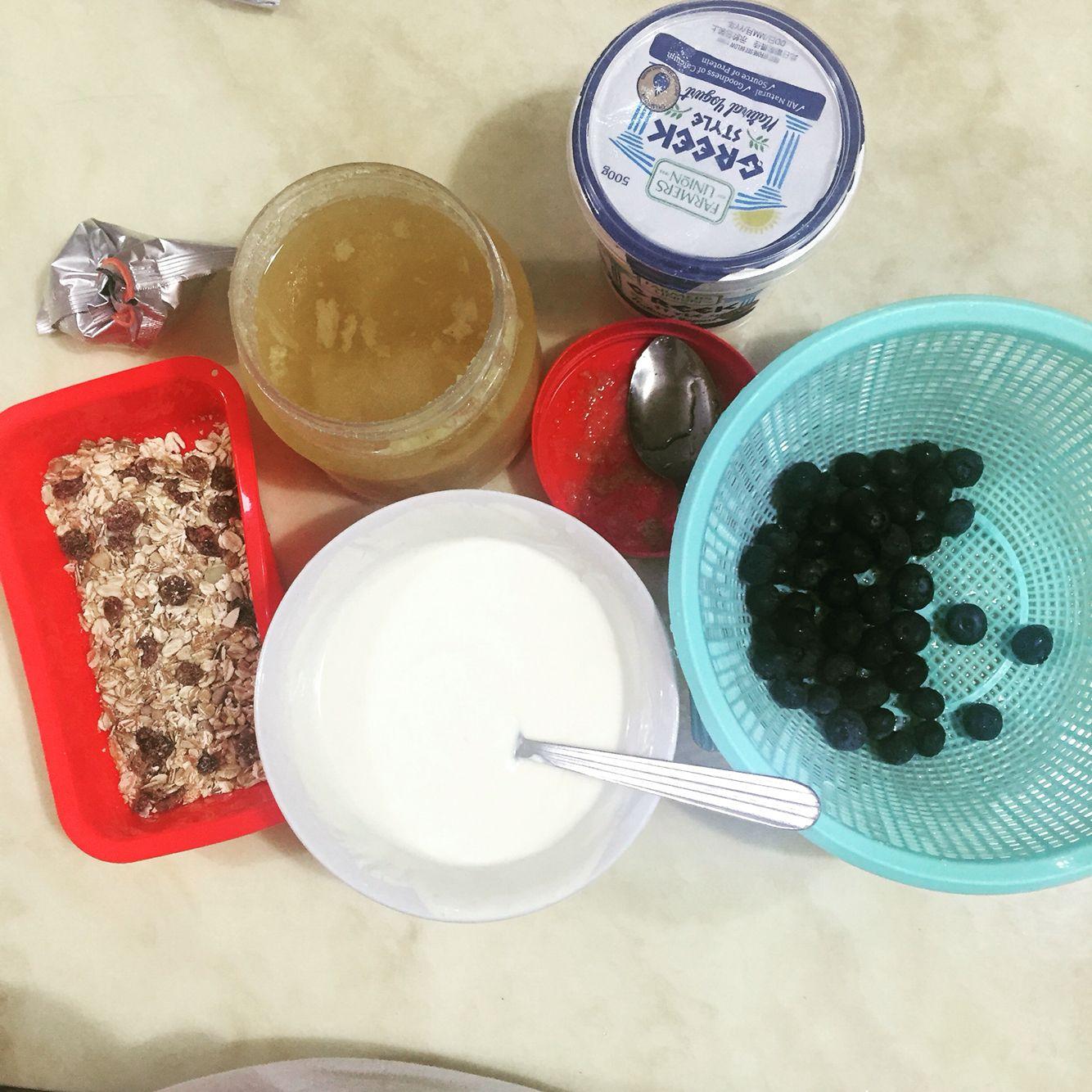 Frozen Yogurt bites  -Greek yogurt mixed with 2 tablespoons of honey  -fitness cereal  -fresh blueberries  N froze 3hours
