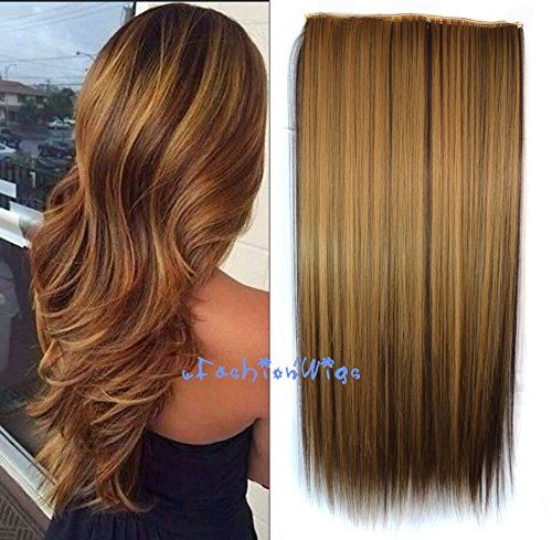Httpkattygurlwp contentuploads20160351u28vw29mlg honey blonde highlight dark brown two colors balayage ombre hair extensions synthetic hair clips in extensions pmusecretfo Image collections