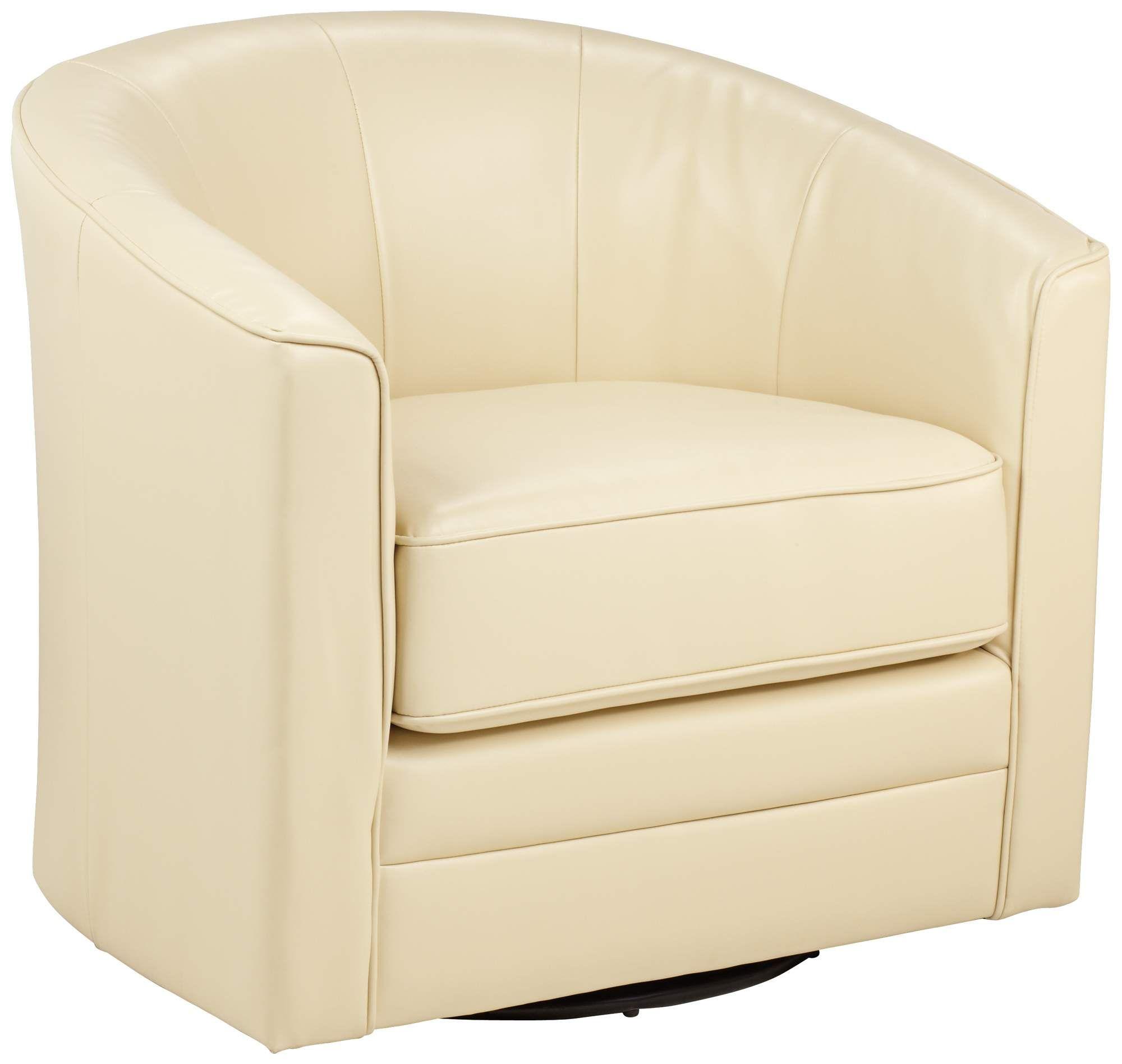 Attirant Keller Ivory Bonded Leather Swivel Tub Chair | 55DowningStreet.com