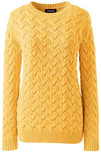 Photo of New Lands' End Women's Plus Size Cotton Cable Drifter Crewneck Sweater online shopping – Moretopshopping