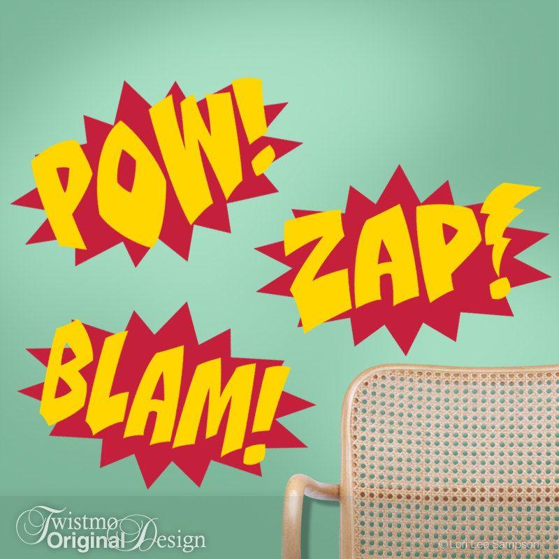 Superhero Wall Decor superhero wall decals - comic book sound effects word bursts blam