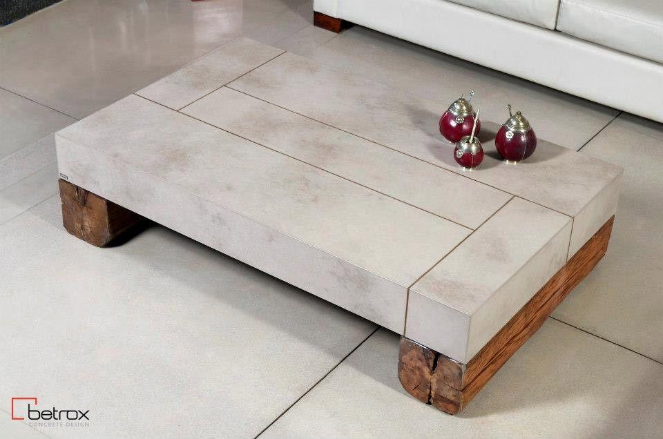 Mesa baja de dise o p living microcemento y madera for Muebles microcemento