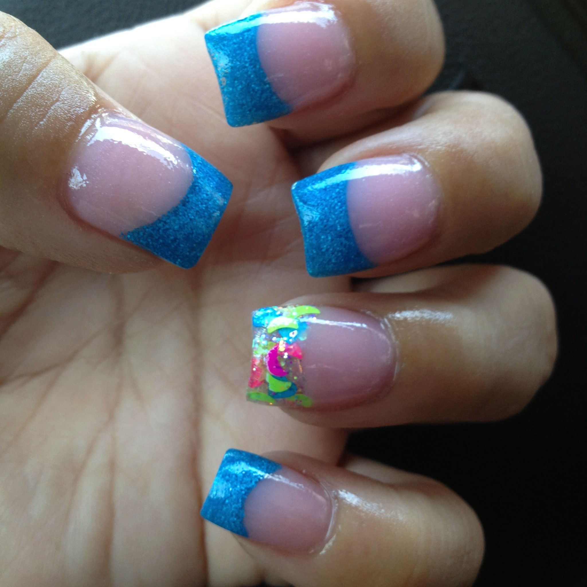 Bright Blue Nails W/confetti On Ring Fingers For July 2012