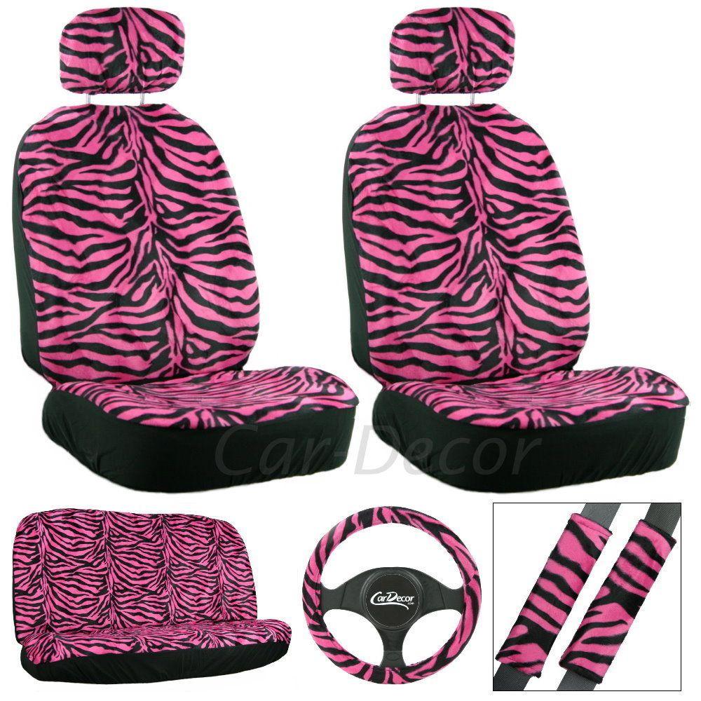 Zebra Hot Pink Seat Cover 11 Pc Set Pink car accessories