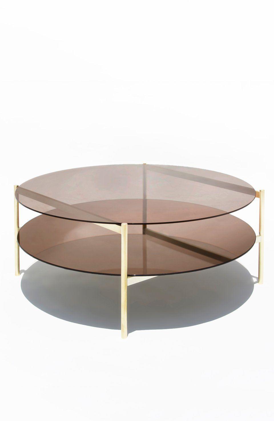 Duotone Circular Coffee Table Brass Frame Bronze Glass