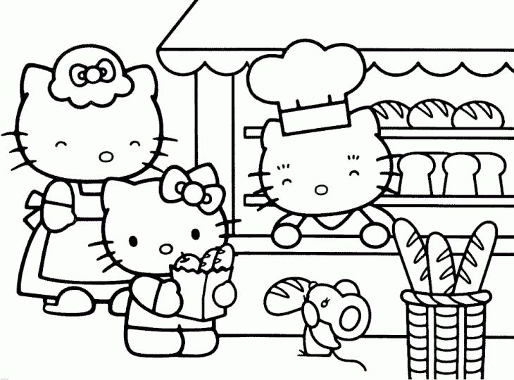 Hello Kitty And Her Mom Buying Some Bread Coloring Page Coloring - fresh hello kitty christmas coloring pages to print