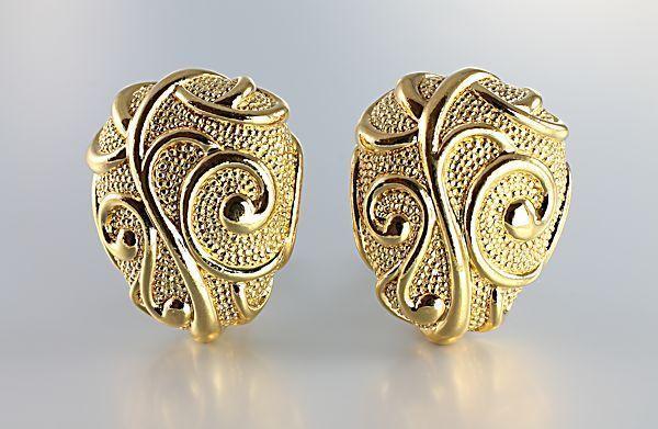 """Hot !! Jose Maria BARRERA For AVON """"Venetian Mist"""" Goldtone Oval Egg Earrings #Avon"""