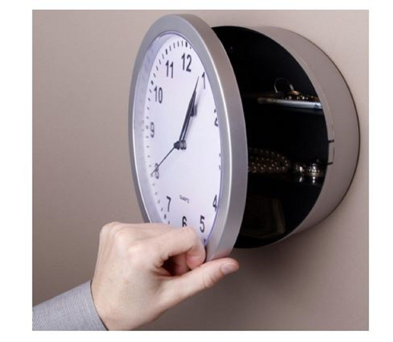 Wall Clock Hidden Safe Home Jewelry Money Security Storage Case