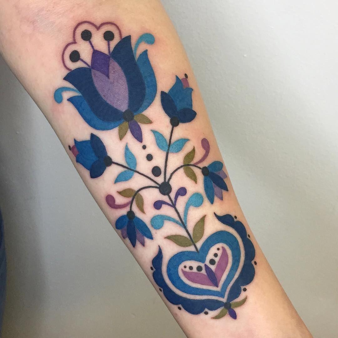 German Folk Art Tattoo Pretty Tattoos Color Tattoo Beautiful
