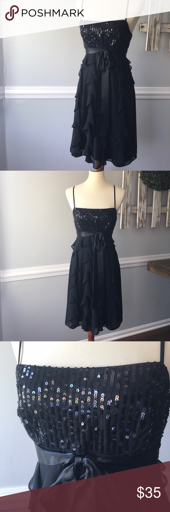 Eliza j black formal cocktail or prom dress