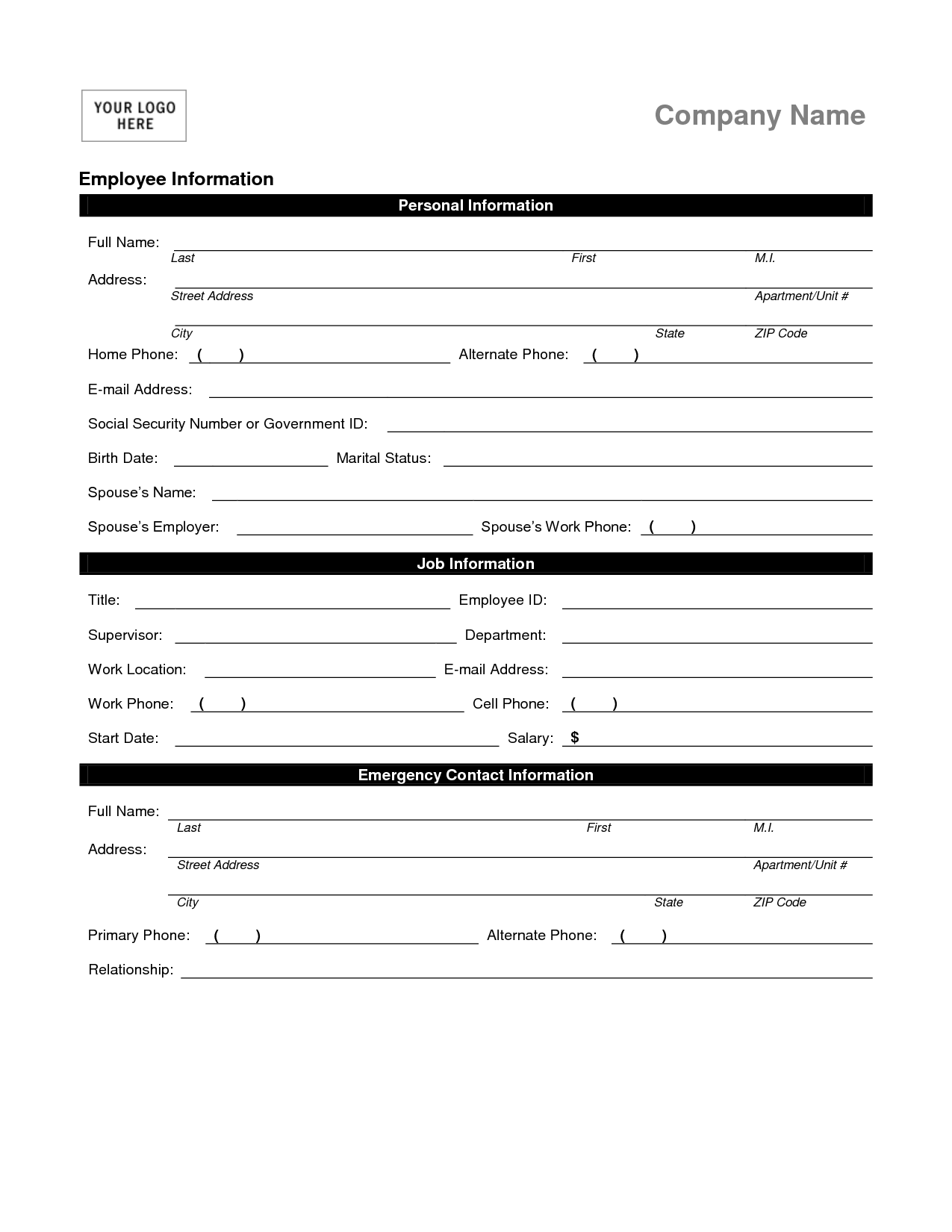 Employee Contact Info. Employee Personal Information Form Template ...