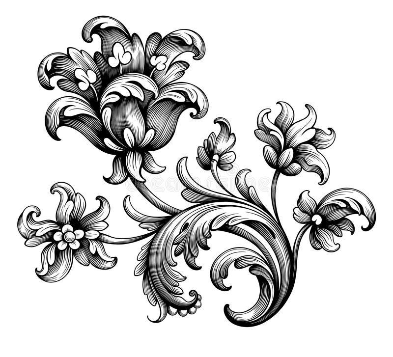 Tulip Peony Flower Vintage Baroque Victorian Frame Border Floral Ornament Scroll Engraved Retro Pattern Tatto Filigree Tattoo Victorian Tattoo Scroll Engraving