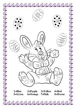 Great Easter Fun Color by Number Easter Bunny.  Great for Spring celebrations, easy to do from Preschool to- Grade 2.  It includes a Word Search to reinforce spelling of eight colors.  Finally an fun Easter bookmark.  Please print it in hard stock paper so kids can use it when they are reading.