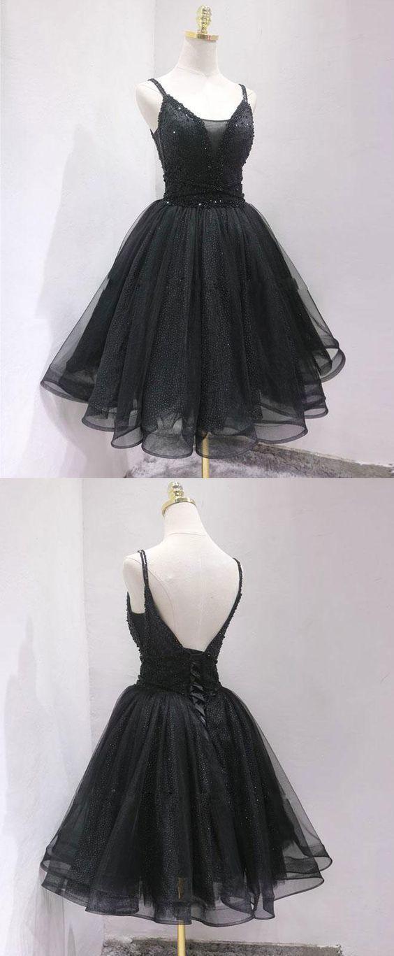 Fashion Black Tulle Short Homecoming Dress, Straps Open Back Party Dress #shortblackhomecomingdresses